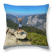 Enjoying At Yosemite Summit Throw Pillow