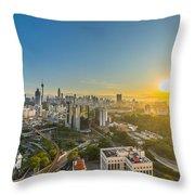 Epic And Beautiful Sunrise At Kuala Lumpur City Center Throw Pillow