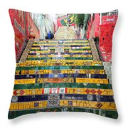 Escadaria Selaron In Rio De Janeiro Throw Pillow