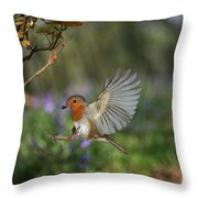 European Robin Alighting Throw Pillow