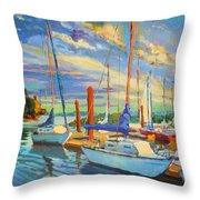 Evening At The Marina Throw Pillow