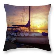 Evening Harbor At Rest Throw Pillow