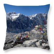 Everest Prayer Flags Throw Pillow