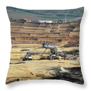 Excavators Working On Open Pit Coal Mine Throw Pillow
