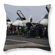 F-14d Tomcats On The Flight Deck Of Uss Throw Pillow