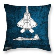 F22 Raptor Blueprint Throw Pillow