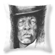 Face Of The Blues - John Lee Hooker Throw Pillow