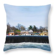 Fairmount Dam - Boathouse Row Throw Pillow