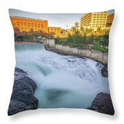 Falls And The Washington Water Power Building Along The Spokane  Throw Pillow