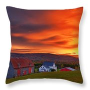 Farm At Sunset In Wentworth Valley Throw Pillow