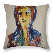 Female Face Study  D Throw Pillow