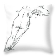 Female Figure Drawing Standing Pose Fountain Pen Ink  Throw Pillow