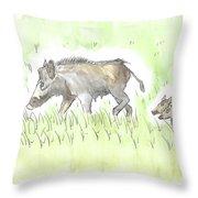 Feral Hogs Throw Pillow