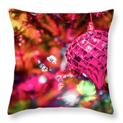 Festive Christmas Tree With Lights And Decorations Throw Pillow