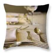 Festive Table Setting For A Formal Dinner  Throw Pillow