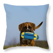 Fetching Boxer Puppy Throw Pillow