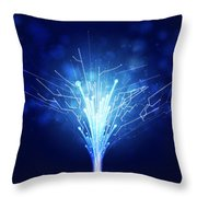 Fiber Optics And Circuit Board Throw Pillow