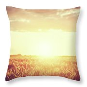 Field, Countryside At Sunset. Harvest Time. Vintage Throw Pillow