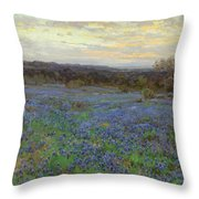 Field Of Bluebonnets At Sunset Throw Pillow
