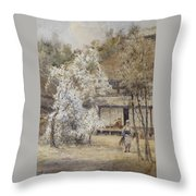 Figure In A Japanese Landscape Throw Pillow
