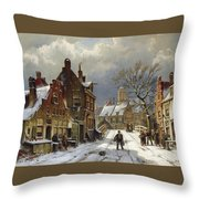 Figures In The Streets Of A Wintry Dutch Town Throw Pillow
