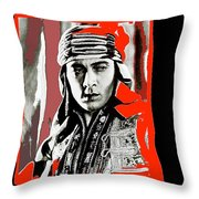 Film Homage Rudolph Valentino The Shiek 1921 Collage Color Added 2008 Throw Pillow