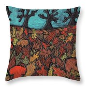 Finding Autumn Leaves Throw Pillow