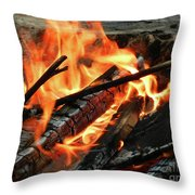 Fire At The Beach IIi Throw Pillow by Mariola Bitner