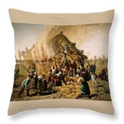 Fire In A Haystack Throw Pillow