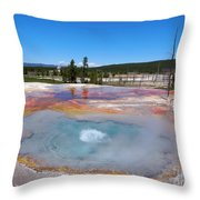 Firehole Spring In Yellowstone National Park Throw Pillow