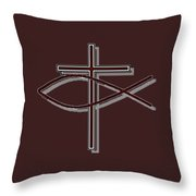Fish And Cross T-shirt Throw Pillow
