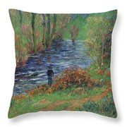 Fisher On The Bank Of The River Throw Pillow
