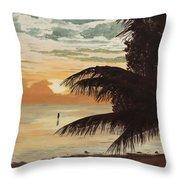 Fisherman At Sunrise Throw Pillow