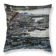 Fisherman's Wharf And Pier 39 Aerial Photo Throw Pillow
