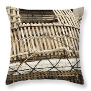 Fishermen Bamboo Crab Cages At Kep Market Cambodia Throw Pillow