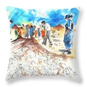 Fishermen In Praia De Mira Throw Pillow