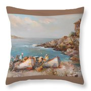 Fishermen With Boats Throw Pillow