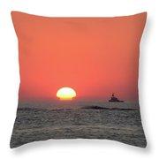 Fishing Boat At Sunrise Throw Pillow