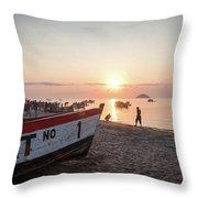 Fishing Boats And The Informal Market - Senga Bay Lake Malawi Throw Pillow