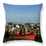 Fishing Boats At Whitstable Harbour 02 Throw Pillow