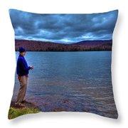 Fishing Limekiln Lake Throw Pillow