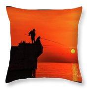 Morning Fishing 1 Throw Pillow