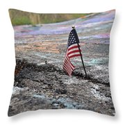 Flag In A Crack In The Pavement Throw Pillow