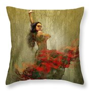 Flamenco In Red Throw Pillow