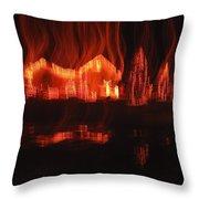 Flaming Houses Lights Water Reflection Christmas Arizona City Arizona 2005 Throw Pillow