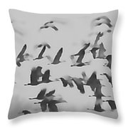 Flight Of The Sandhill Cranes Throw Pillow
