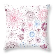 Floral Doodles Throw Pillow