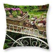 Flower Cart In Garden Throw Pillow