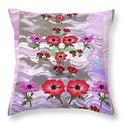 Flower Mania Anemone Fantasy Wave Design Created Of Garden Colors Unique Elegant Decorations Throw Pillow