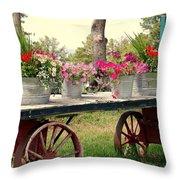 Flower Wagon Throw Pillow